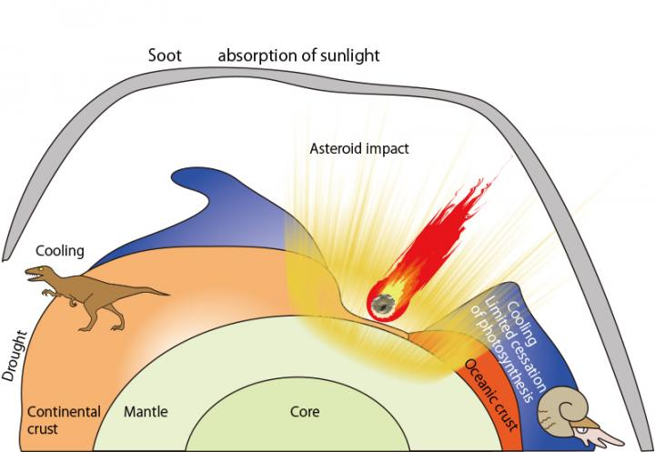 Global climate change caused by soot aerosol at the K-Pg boundary. CREDIT Kunio Kaiho