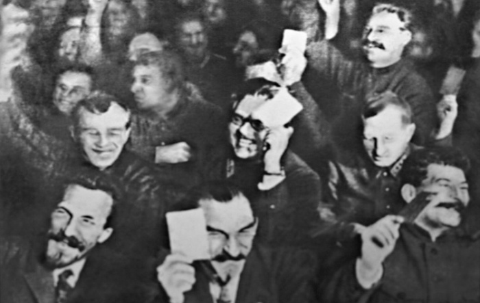 The victors of the 15th Congress; Rykov (left), Mykola Skrypnik (center) and Stalin (right)