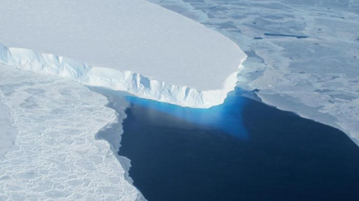 The melting Thwaites Glacier in the West Antarctic Ice Sheet, a climatic tipping element that global warming may have committed to an irreversible shift.CREDIT NASA