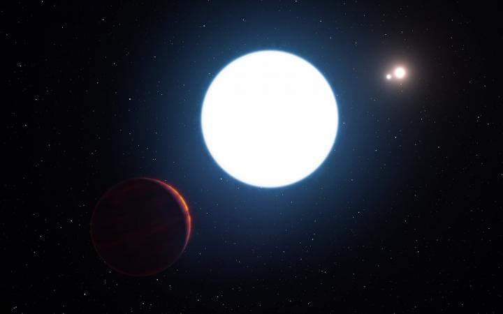 This artist's impression shows a view of the triple star system HD 131399 from close to the giant planet orbiting in the system. The planet is known as HD 131399Ab and appears at the lower-left of the picture. CREDIT: ESO/L. Calçada
