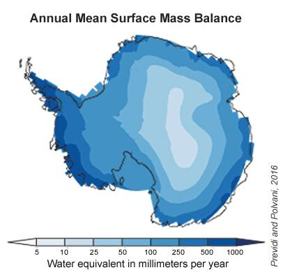 Antarctica's annual mean surface mass balance estimated using CMIP5 climate models. Future snowfall increases will also likely be largest around the edges of the continent, where storms blow in and temperatures tend to be warmer. CREDIT Previdi and Polvani, 2016.