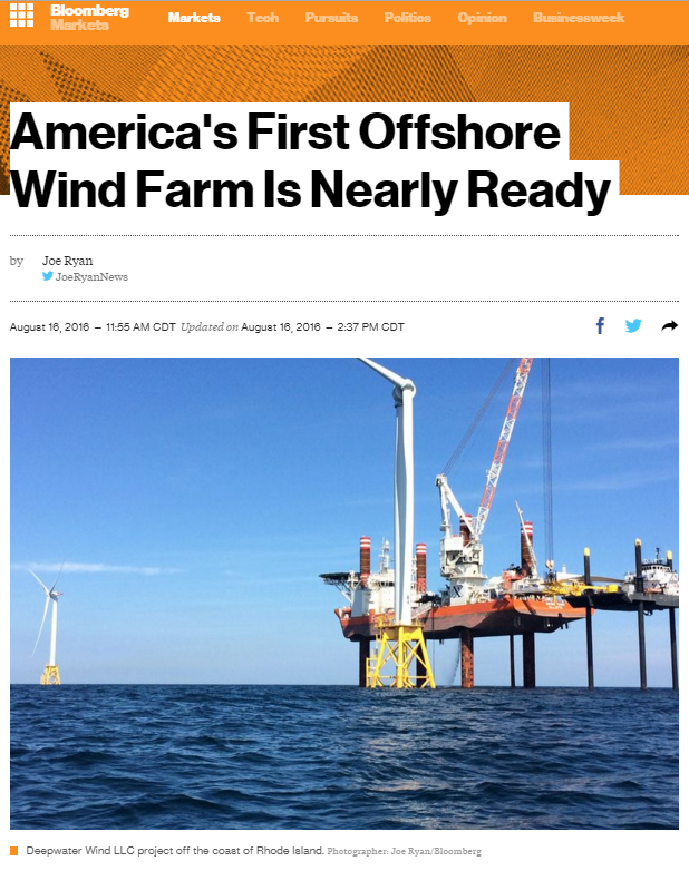 America's First Offshore Wind Farm Is Nearly Ready