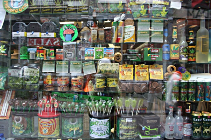 Amsterdam store window displaying various medical cannabis, hemp food and other types of products