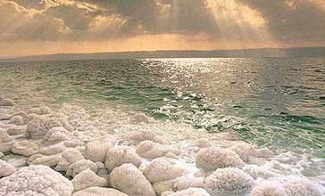Salt along the shore of the Dead Sea Image: Wikipedia