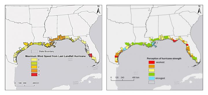 Princeton University-led research found that people's view of future storm threat is based on their hurricane experience, gender and political affiliation, despite ample evidence that Atlantic hurricanes are getting stronger. This could affect how policymakers and scientists communicate the increasing deadliness of hurricanes as a result of climate change. The figure above shows the wind speed of the latest hurricane landfall (left) on the U.S. Gulf Coast by county up to 2012, with red indicating the strongest winds. The data on the right show for the same area, by county, public agreement with the statement that storms have been strengthening in recent years, which was posed during a 2012 survey. Blue indicates the strongest agreement, while red equals the least agreement. CREDIT Image courtesy of Ning Lin, Department of Civil and Environmental Engineering
