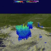 The GPM core satellite found heavy rainfall in storms on Aug. 11, 2016, at 10:26 p.m. EDT falling at a rate of over 3.9 inches (100.1 mm) per hour in one intense downpour in Louisiana. A few storm tops were reaching heights of over 9.9 miles (16 km). CREDIT NASA/JAXA/Hal Pierce