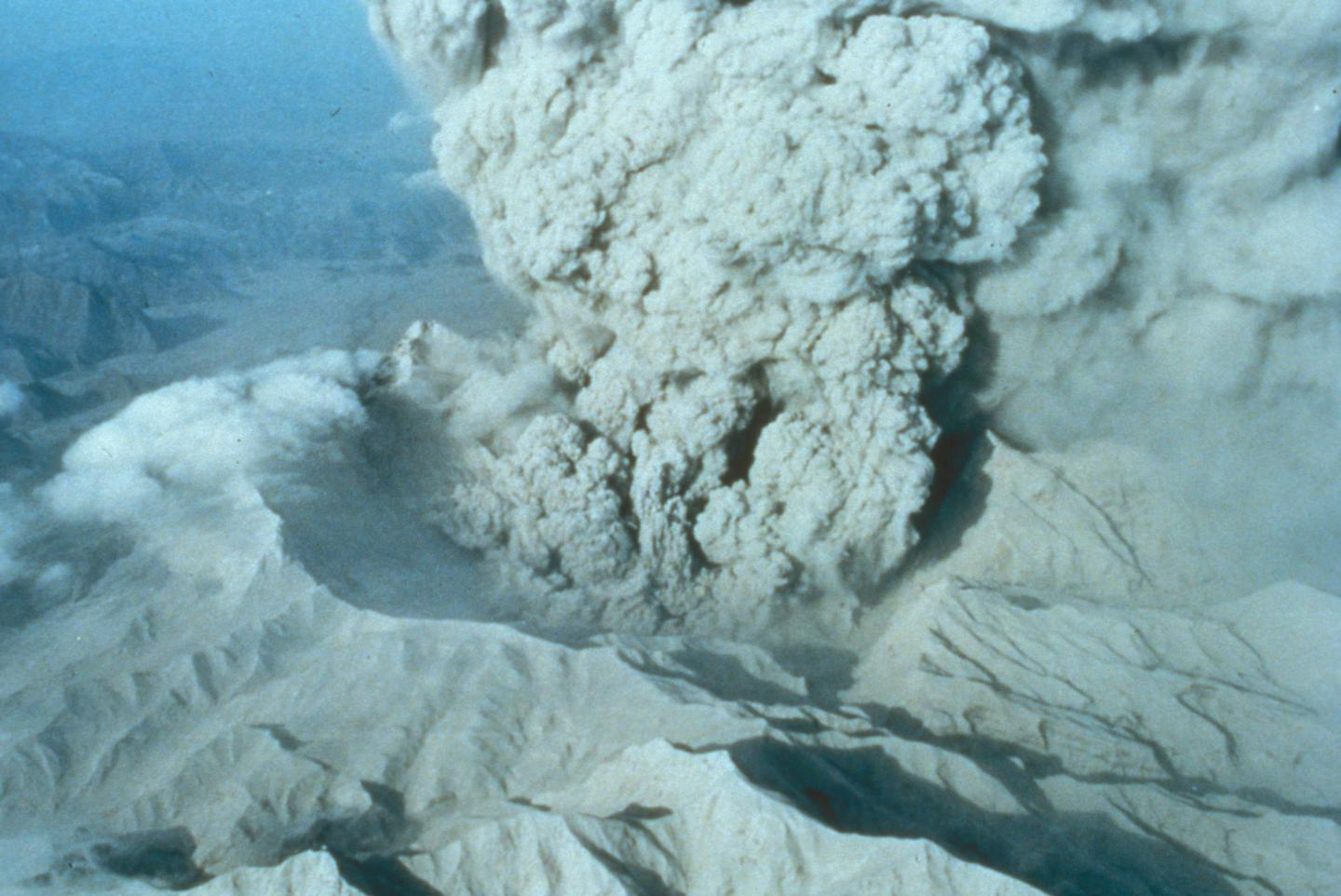 The caldera of Mount Pinatubo on June 22, 1991. CREDIT Courtesy of USGS.