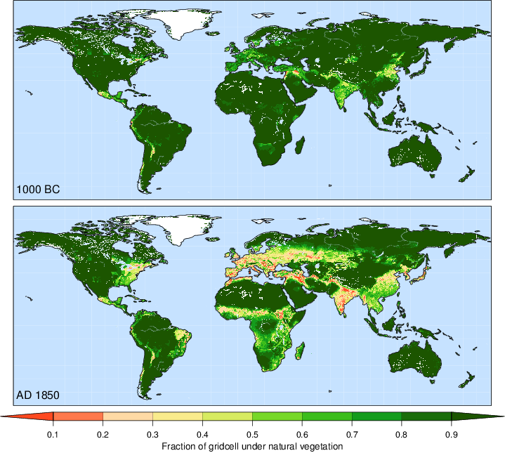 Global KK10 land use maps at 1000 BC and 1850 Image: Institute of Earth Surface Dynamics , Université de Lausanne