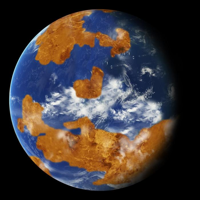 Observations suggest Venus may have had water oceans in its distant past. A land-ocean pattern like that above was used in a climate model to show how storm clouds could have shielded ancient Venus from strong sunlight and made the planet habitable. CREDIT NASA