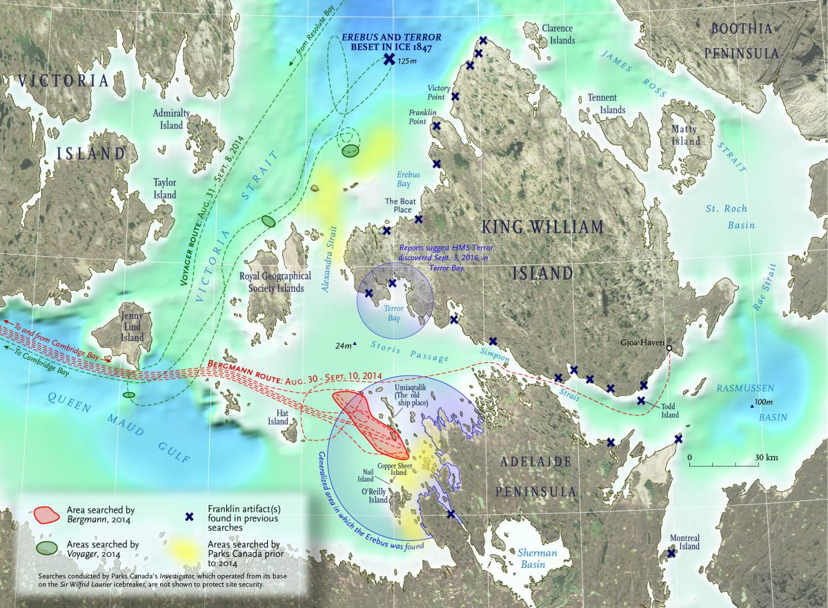 Map showing the search routes for Sir John Franklin's lost (and recently found) ships. The larger, more southern blue circle indicates the area that Erebus was found, whereas the smaller more northern blue circle indicates the area that the Terror has allegedly been found. (Map: Chris Brackley/Canadian Geographic)
