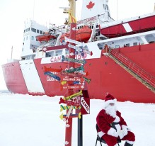 "Canadian icebreaker ""greeted at the North Pole by Santa Claus and his mailbox."" Credit: Science.gc.ca"