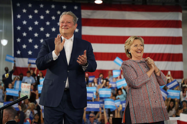 Democratic presidential nominee former Secretary of State Hillary Clinton and former Vice President Al Gore campaign together at the Miami Dade College on Tuesday in Miami. (Photo by Joe Raedle/Getty Images)