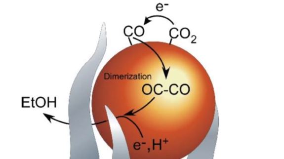 Image result for a process to turn Carbon Dioxide, a greenhouse gas, into ethanol fuel.