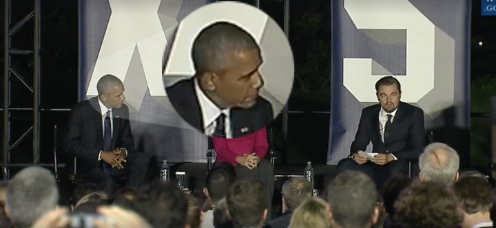 "Screenshot of President Obama Listening while DiCaprio Calls for ""Deniers"" to be banned from public office."
