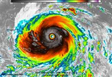This infrared image of Super Typhoon Haima was taken on Oct. 18 at 12:40 p.m. EDT (1640 UTC) and showed that the coldest temperature around the eyewall was around 220 Kelvin (-63F/-53C) indicating very powerful thunderstorms with the capability to generate very heavy rainfall. CREDIT Credits: UW-Madison/SSEC, William Straka III