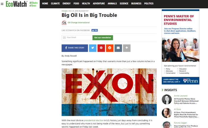 EcoWatch: Big Oil is in Big Trouble (The Dumbest Article