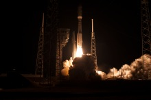 A United Launch Alliance Atlas V rocket lifts off from Space Launch Complex 41 at Cape Canaveral Air Force Station carrying the NOAA Geostationary Operational Environmental Satellite (GOES-R). Liftoff was at 6:42 p.m. EST.