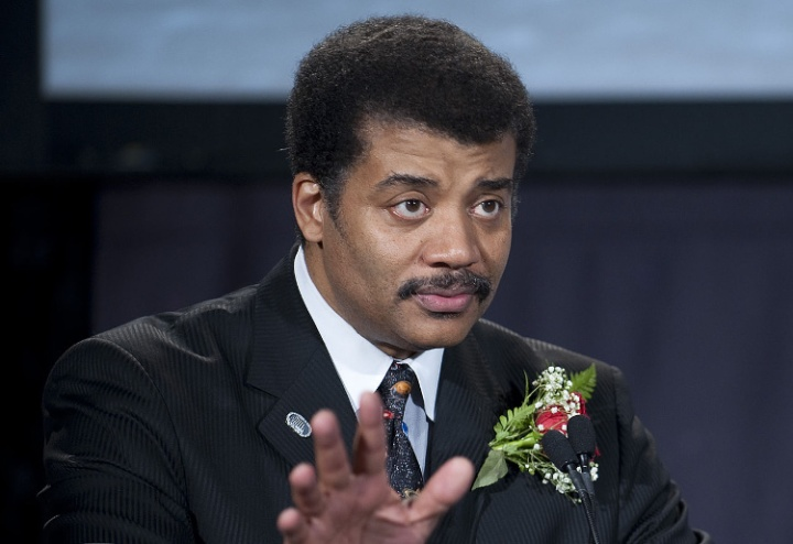 Director of the Hayden Planetarium Neil deGrasse Tyson speaks as host of the Apollo 40th anniversary celebration held at the National Air and Space Museum, Monday, July 20, 2009 in Washington.