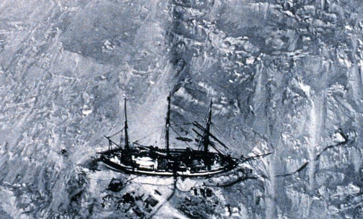 One of the first aerial photographs of the Antarctic, this picture was obtained from a balloon in 1901. It shows Erich von Drygalski's ship, the logbooks of which were used in the study. CREDIT National Oceanic and Atmospheric Administration/Department of Commerce