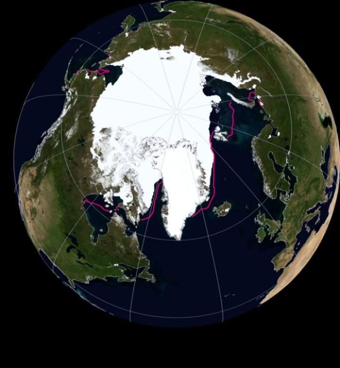 This is the Arctic sea ice extent: November 2016. CREDIT National Snow and Ice Data Center (NASA Earth Observatory