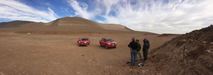 Marco Pfeiffer and his colleagues scan the arid Atacama Desert, where freshwater lakes and wetlands once provided refuge to South America's early settlers. CREDIT Marco Pfeiffer