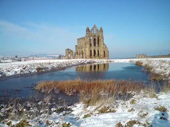 Whitby Abbey in the snow - the shell of the 13th-century church (image for illustration from Pinterest)