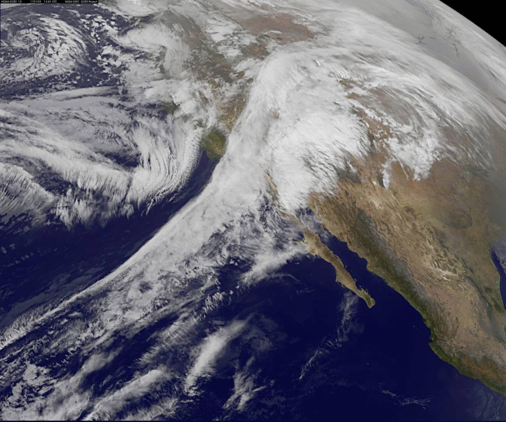 This visible image of the storm system affecting the U.S. Pacific Coast was taken from NOAA's GOES-West satellite on Jan. 9, 2017 at 8:35 a.m. EST (1345 UTC). Credits: NASA/NOAA GOES Project