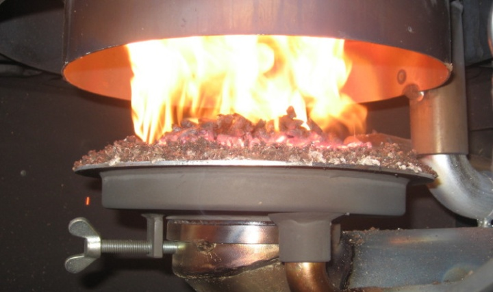 Inside a Wood Pellet Heater.