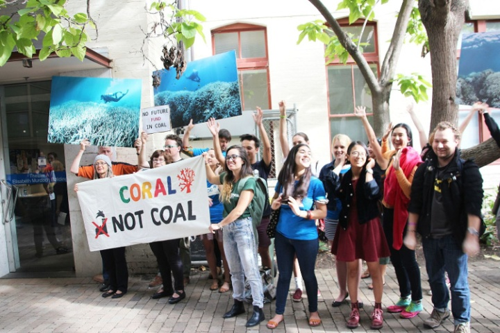 Coral not coal protest at India Finance Minister Arun Jaitley Visit to Australia