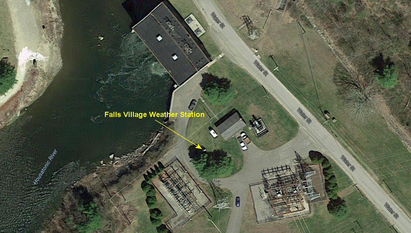 Aerial view of Falls Village GHCN weather station. Note power plant to the north