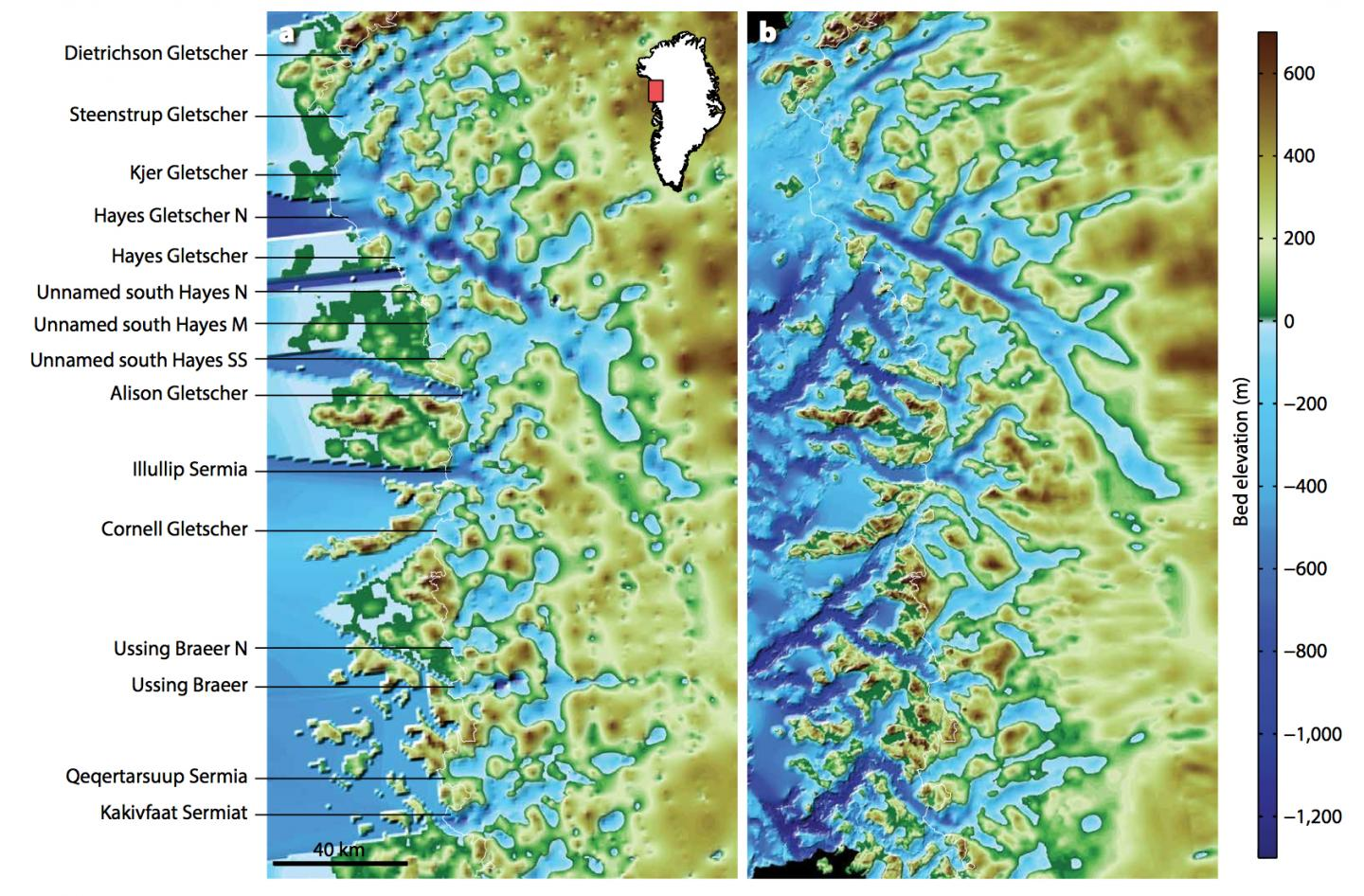Maps of the northwest Greenland coastline before (left) and after (right) OMG data were incorporated. The coastline itself -- the edge of the glacier ice -- appears as a faint white line. The right-hand image shows several previously unknown troughs revealed by the OMG seafloor survey. CREDIT Credit: UCI