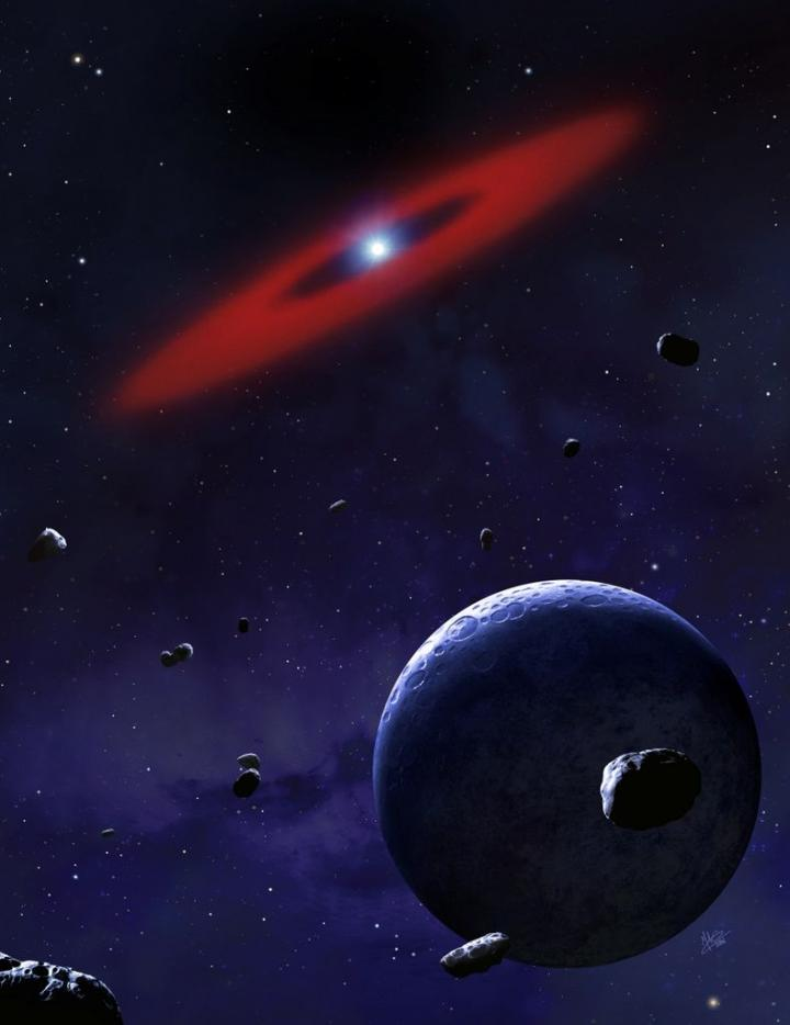 Rendering of part of a planetary system in orbit around a white dwarf star (the white spot at the center of the red ring). The foreground shows rocky asteroids; the red ring represents the rocky debris that remains of former asteroids or a minor planet that have already been broken apart by the strong gravity of the white dwarf. CREDIT University of Warwick