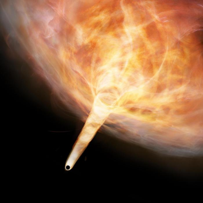 The gas is dragged along by the strong gravity of the black hole to form a narrow gas stream. CREDIT Keio University