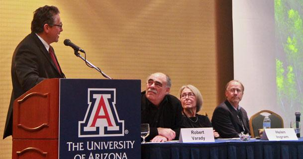 At the UA conference, the Sonoran Institute's Francisco Zamora, left, discussed collaborative research between the U.S. and Mexico on sustainable water resource management. CREDIT Pete Brown/UA College of Engineering