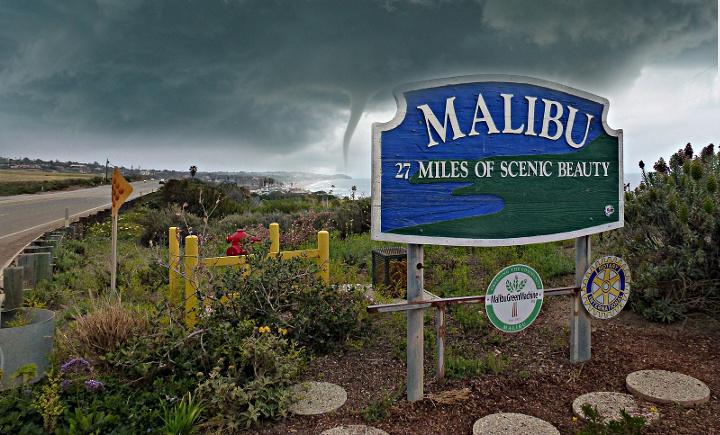 Malibu Sign + Twister, Photoshopped
