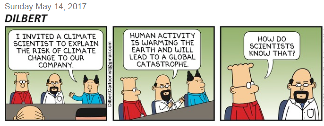 The #Dilbert Sunday comic strip hilariously disses climate