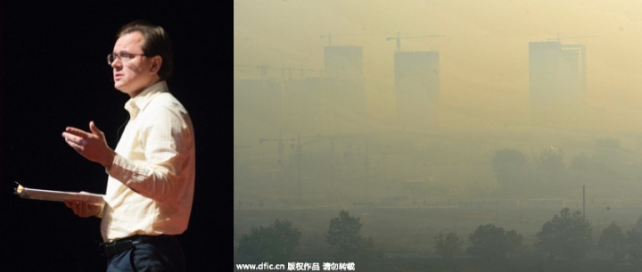 Firmin DeBrabander. Smog hangs over a construction site in Weifang city, Shandong province, Oct 16. 2015. Air quality went down in many parts of China since Oct 15 and most cities are shrounded by haze. [Photo/IC]