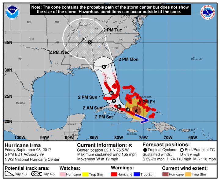 Image result for hurricane irma september 08, 2017, 5 PM EDT NWS National Hurrican center