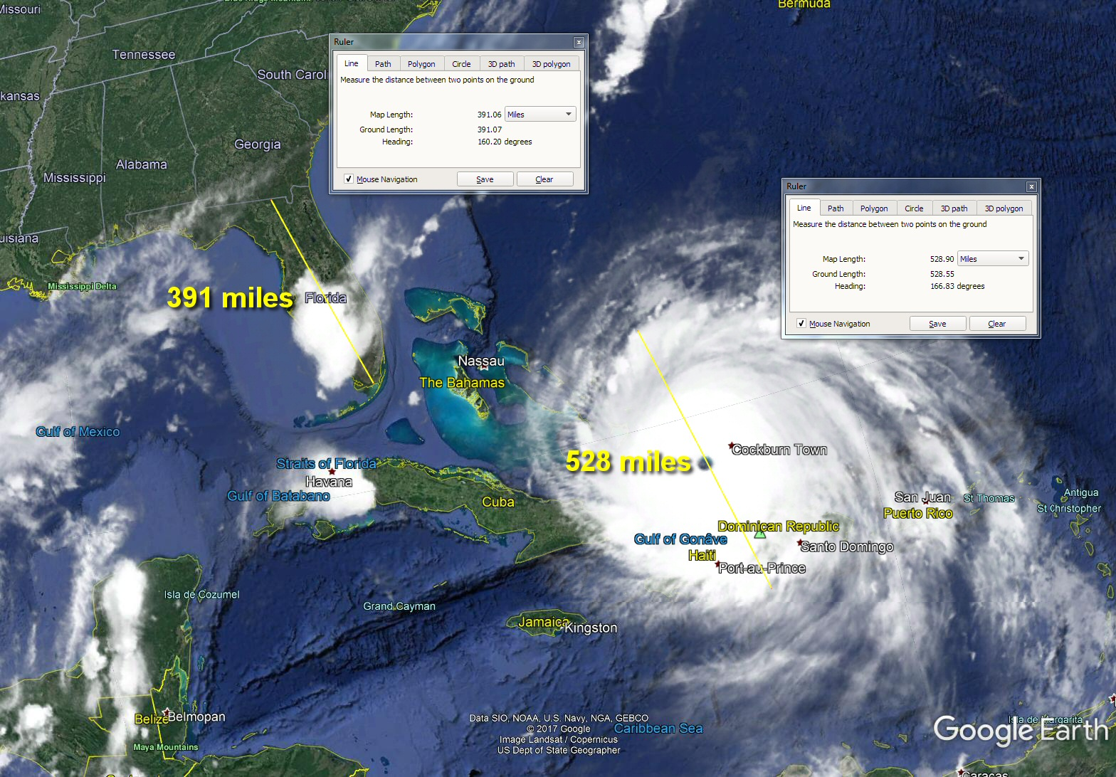 Sh sh show me my house on google earth - Measuring The Size Of Irma Based On The Densest Cloud Bands It Shows 528 Miles In Diameter From Outer Dense Cloud Bands Through The Eye
