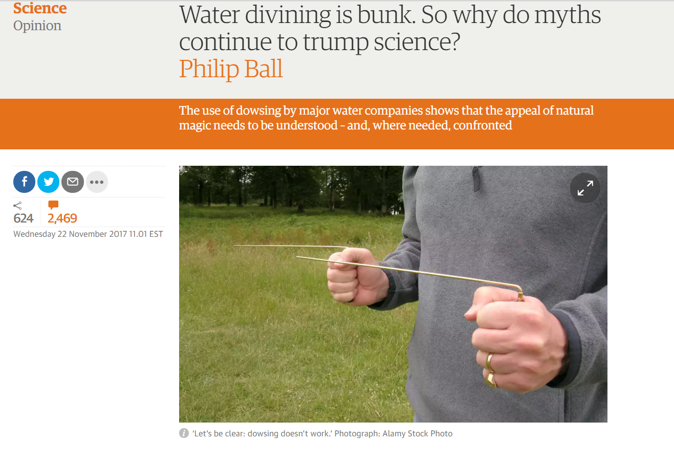 "Grauniad: ""Water divining is bunk  So why do myths continue"