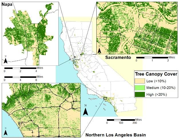 percent tree canopy cover within california urban areas credit university of california davis