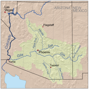 Map of the Gila River watershed-drainage basin — located in New Mexico and Arizona.