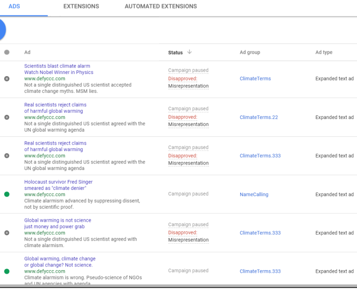 Climate Skeptic Censorship by Google, Twitter, and Microsoft