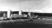 Architecht's rendering shows proposed Pilgrim Nuclear Generating Units 2 and 3 to be built adjacent to the present Reston Edison Company's 664,000 kilowatt nuclear generating station (right) in Plymouth, Mass. Circa 1974.