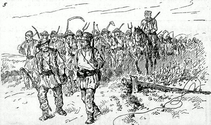 1888 Riots in Romania - Five hundred armed peasants marching to Kalarash