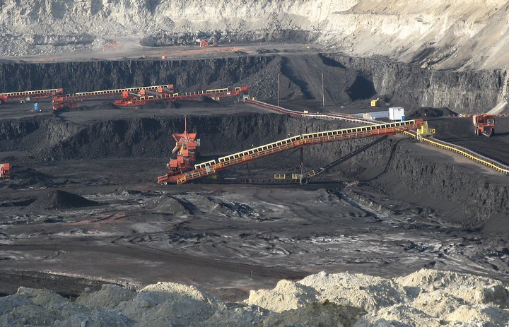 Surface coal mine, detail view — in Gillette, Campbell County, Wyoming