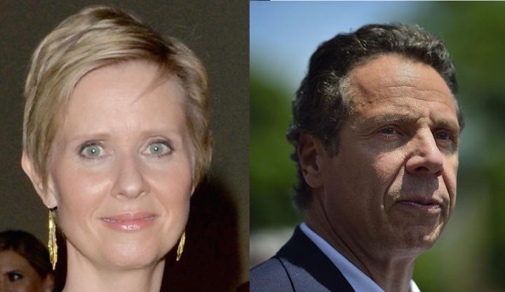 Left: Cynthia Nixon. Right: Governor Cuomo of New York.