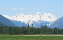The Mount Meager volcanic complex as seen from the east near Pemberton, BC. Summits left to right are Capricorn Mountain, Mount Meager, and Plinth Peak.